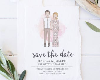 Save the Date Custom Couples Invitation