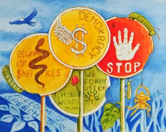 """Freedom of Speech in US. 14""""x18"""" acrylic painting"""