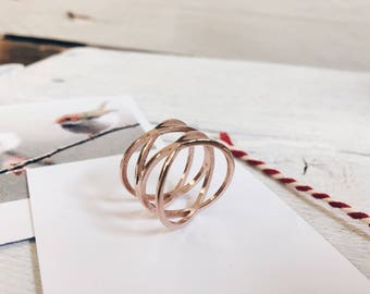 Double Crossed Ring Rose Gold | Statement Ring Stainless Steel