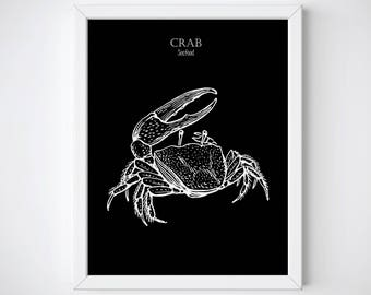 Crab Print • Crab • Seafood Art  • Kitchen Wall Art • Scandi Art • Kitchen Print • Seafood Print • Kitchen Art • Kitchen Printable • Crabs