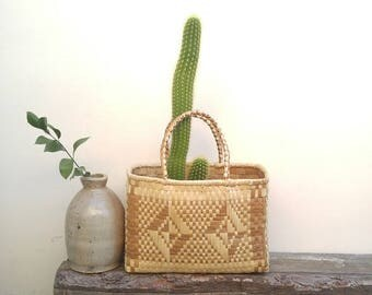 Light Colored Diamond Weave Basket with Handles/Plant Holder