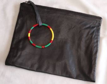 Leather clutch / black / wax / barcelet / African / evening pouch