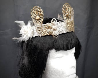 Tudor Elves crown in bronze gold white with cabochons and roses/elven crown in Gold Bronze white with cabochons and fabric roses