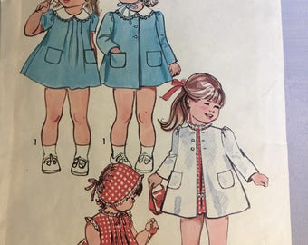 6118 Simplicity Toddlers' Dress Coat and Hat Size 3 1973 Vintage