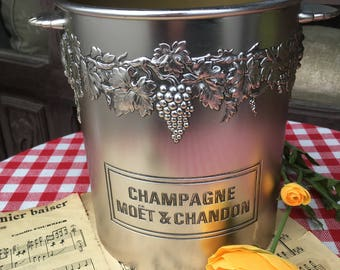 French Vintage Silver Effect Plastic Moet & Chandon Champagne Ice Bucket / Insulated Inner to Keep that Ice Icy!  / French Ice Bucket