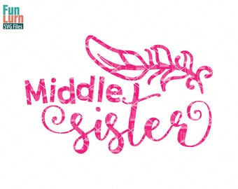 Middle Sister SVG, Big Sister svg, Birth Announcement, New born,  feather, Sister, sibling svg,  Family, Family svg, dxf, png, eps