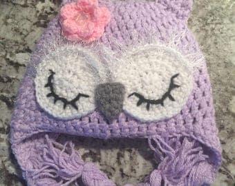 Purple little girls owl hat
