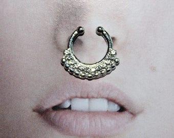 Fake nose piercing, silver fake piercing, indian nose fake piercing, rhinestone fake piercings, gypsy fake piercing