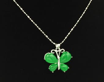 Sterling Silver Green Jade Butterfly Necklace