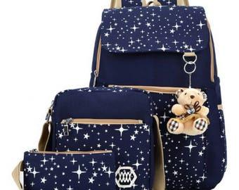Starry Sky Women Canvas Backpack