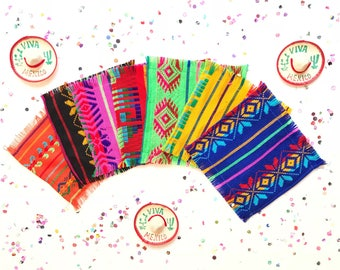 Mexican serape coasters, mexican tribal napkins, fiesta decorations, mexican fiesta supplies, hippie decor, mexican party decorations, SET 6