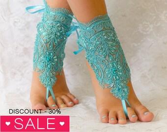Blue Barefoot sandals, beach wedding barefoot sandals, barefoot sandles, wedding barefoot sandals lace barefoot sandals