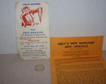 Vintage Isely's Anti-Gravico Magic Trick w/ Instructions in Envelope