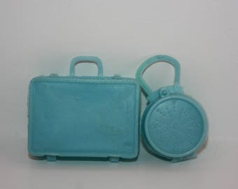 Vintage Light Blue Luggage Accessory Pair for Barbie Skipper Tammy Dolls Hong Kong
