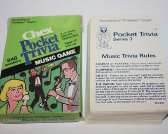 Vintage Chex Pocket Trivia Music Playing Card Game 1984 Hoyle