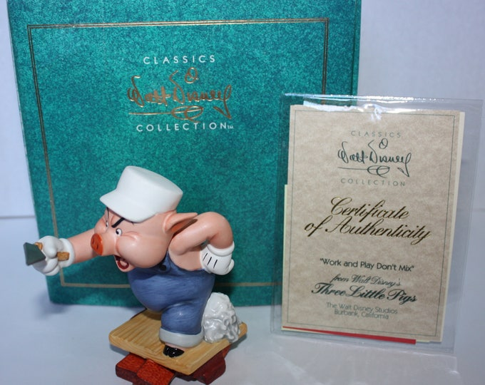 "WDCC Three Little Pigs Figurine ""Work and Play Don't Mix"" 1998 Sculpture Box COA"