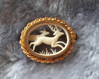 Deer design vintage brooch