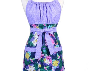 Womens Retro Kitchen Apron Michael Miller Hummingbirds and Hibiscus Vintage Style with Lined Pocket and Fitted Bodice Top