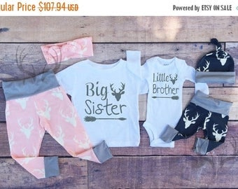 HUGE SALE 20% OFF, Big Sister Little Brother Outfits, Baby Coming Home Outfit Set,Country Outfits, Gils Pink Deer,Boys Navy Blue Deer, Siste