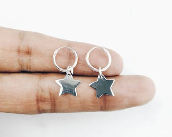 12mm Sterling Silver Star Hoops / Silver Cartilage Hoops / Star Charm Hoops / WS377