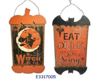Halloween Wood Sign, Wall decor with 3D layar, 'the witch is in' 'eat drink & be scary'