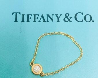 TIFFANY & CO elsa peretti 18k rose gold diamond chain ring.