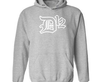D12 White Logo Hoodie Classic Vintage Style Hip Hop Fleece Sweatshirt Rap Merch Shady Records Eminem Revival Detroit Emcees New