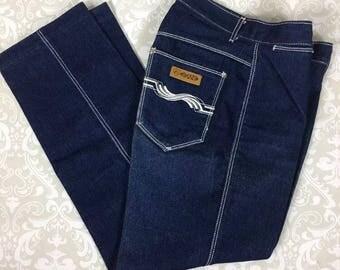 Vintage Gitano High Waist Jeans Dark Wash Straight Leg Crop Size 8