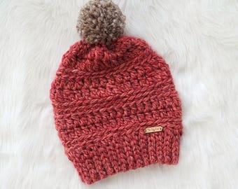 Lily Pom Pom Beanie // Crochet Beanie // Pom Pom Beanie // Winter Hat // Crochet Beanie // Crochet Hat // Women's Beanie // Women's Hat