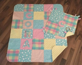 Baby Quilt Set   Personalized   Minky Baby Blanket   Baby Gift