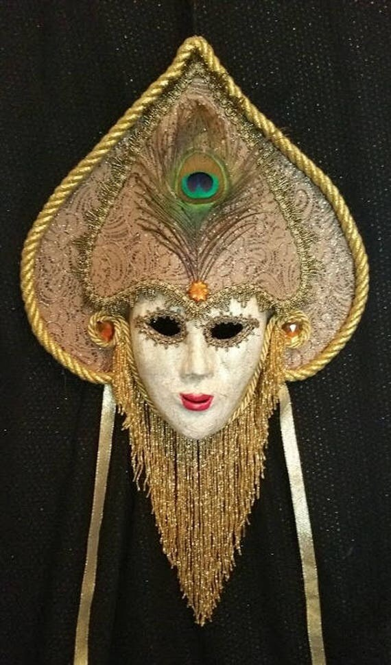 "Handmade, Original, One of a Kind, Paper Mache Mask ""Woman of Venice"" by Maskweaver, Soraya Ahmed"