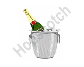 Champagne In Bucket - Machine Embroidery Design