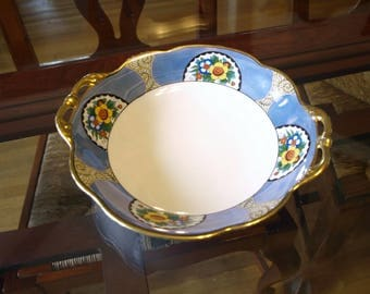 Noritake Hand Painted Double Handle Vintage Serving Bowl – Blue and White with Floral Design and Gold Trim