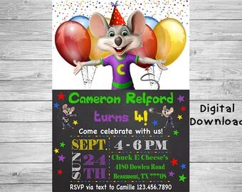 Chuck E Cheese Invitation - Chuck E' Cheese's Birthday Party Invitation