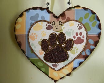 Dog - Puppy - Lover - Ornament - Wall - Hanging - Brown - Paw - Print - Home - Decor - Accent