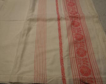 Vintage pink and white stripe tablecloth