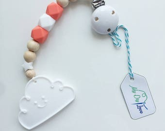 Bite chain Cloud white silicone beads clouds