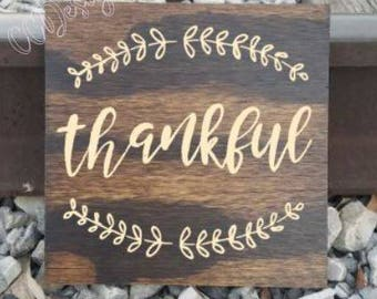 thankful sign, wooden thankful sign, thankful decor, thankful wall decor, rustic sign, rustic thankful, wooden sign, wood sign