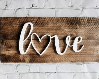 Love Heart Wood Sign - Wood Sign - 3D Wood Sign - Valentines Decor - Love Wood Sign - Rustic Home Decor - Farmhouse Decor - Reclaimed Sign