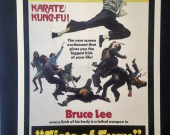Bruce Lee Fists of Fury Vintage Poster 12'x18' Reproduction // Martial Arts // Karate! // Kung-Fu!