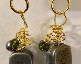 Acrylic-Enameled-Plated Earrings- Trendy!