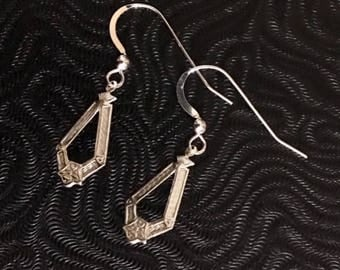 Sterling Silver Open Diamond Shape Earrings