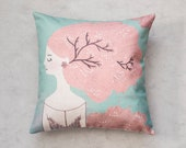 Cherry blosson girl, Pillow Cover, Cushion Cover, Pillow Covers, Pillow Cushion, Throw Pillow, Cushion Cover