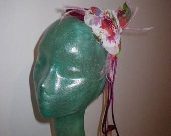 Greenhouse head purple fabric flower, feathers