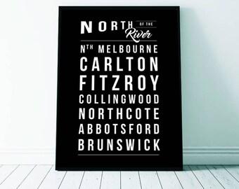 Melbourne Art Print, Melbourne, Melbourne Print, Melbourne North of the River, Printable Digital Download, Typography
