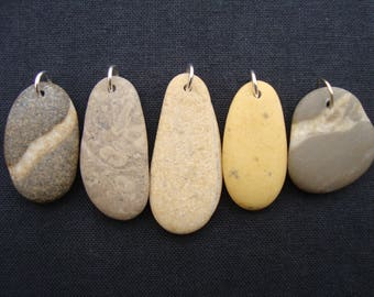 Sea Pebble Charms-Jewelry Supplies-perforated Beach Pebbles-Pendants