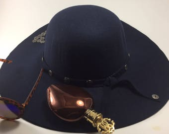 Dark blue hat made of felt, a steampunk hat, an hat for autumn, a warm hat, a hat made of wool