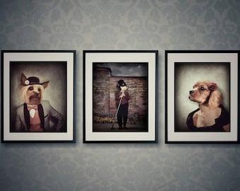 Dog Lovers Gift, Dog Prints, Set Of Prints, Quirky Art, Vintage, Dog Art, Animal Art, Animal Prints, Unique Art, Photo Prints, Wall Art Set