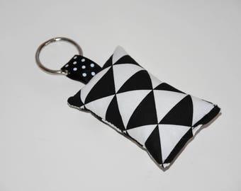 Keychain fabric - geometric triangles - gift idea