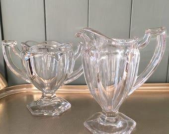 1930s vintage glass milk jug and sugar bowl - Art Deco Davidson Chippendale pressed glass - vintage 1930s glass